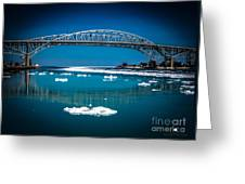 Blue Water Bridge Reflection Greeting Card
