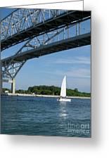 Blue Water Bridge Sail Greeting Card
