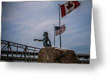 Blue Water Maiden In International Flag Plaza Greeting Card