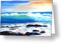Blue Water Wave Crashing On Rocks Greeting Card