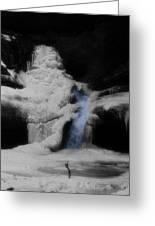 Blue Waterfall Frozen Landscape Greeting Card by Dan Sproul