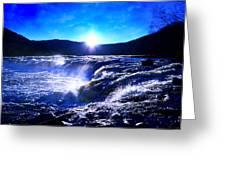Blue Waterfall Greeting Card