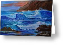 Blue Waves Hawaii Greeting Card