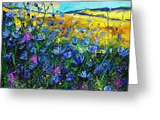 Blue Wild Chicorees Greeting Card by Pol Ledent