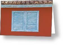 Blue Window Shutter Of Aruba Greeting Card