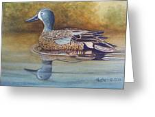 Blue Winged Teal Greeting Card by Rick Huotari