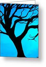 Blue Winter Greeting Card by Debi Starr