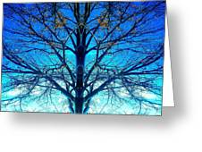Blue Winter Tree Greeting Card