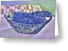 Blue Woven Basket Greeting Card