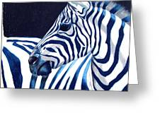 Blue Zebra Greeting Card