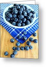 Blueberries And Blue Napkin Greeting Card