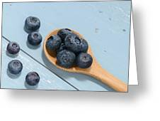 Blueberries On A Spoon Greeting Card