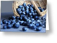 Blueberries Spilling From Wicker Basket Kitchen Art Greeting Card