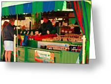 Blueberries Strawberry Jam Baskets Ferme Racine Petits Fruits Jean Talon Market Scene Carole Spandau Greeting Card