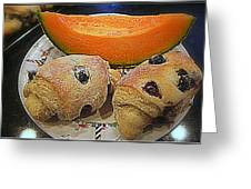 Blueberry Scones And Cantaloupe Greeting Card