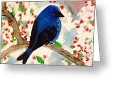 Bluebird Amid Apple Blossoms Greeting Card