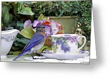 Bluebird And Tea Cups Greeting Card