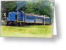 Bluebird Train Greeting Card