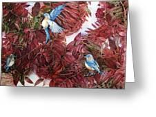 Bluebirds Love Sumac Greeting Card by Helen Klebesadel