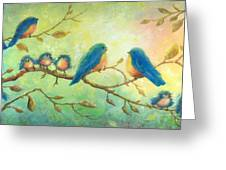 Bluebirds On Branches Greeting Card