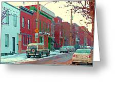 Blues And Brick Houses Winter Street Suburban Scenes The Point Sud Ouest Montreal Art Carole Spandau Greeting Card