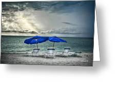 Blueumbrellassanibelisland Greeting Card