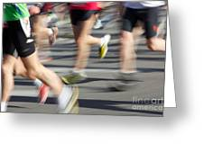 Blurred Marathon Runners Greeting Card