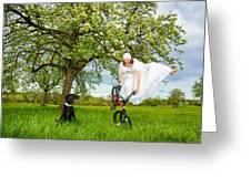 Bmx Flatland Bride Jumps In Spring Meadow Greeting Card