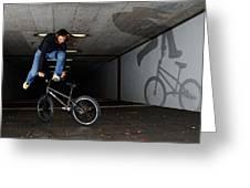 Bmx Flatland Monika Hinz Doing Awesome Trick With Her Bike Greeting Card