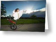 Bmx Flatland Rider Monika Hinz Jumps In Wedding Dress Greeting Card