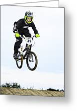 Bmx Racer Goes Airborne Greeting Card