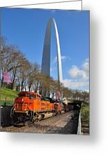 Bnsf Ore Train And St. Louis Gateway Arch Greeting Card