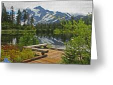 Board Walk- Lake- Fir Trees And Mount Baker Greeting Card