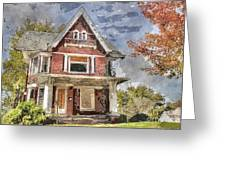 Boarded Up Old Characer Home Watercolor Greeting Card