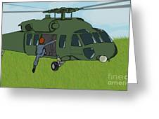 Boarding A Helicopter Greeting Card