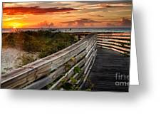 Boardwalk Sunrise Amelia Island Florida Greeting Card