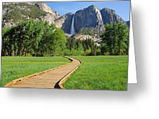 Boardwalk To Yosemite Falls  Greeting Card
