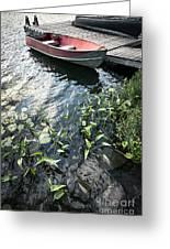 Boat At Dock On Lake Greeting Card