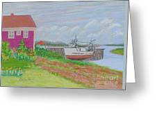 Boat At Low Tide Greeting Card