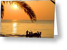 Boat At Sea Sunset Golden Color With Palm Greeting Card