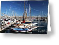 Boat Day In The Port Greeting Card by John Rizzuto
