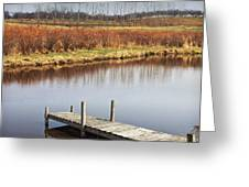 Boat Dock On A Pond In South West Michigan Greeting Card