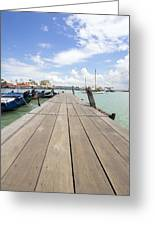 Boat Dock On Jetty In Penang Greeting Card