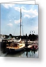 Boat - Docked Cabin Cruiser Greeting Card