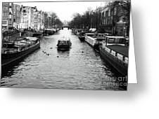 Boat Down The Canal Greeting Card