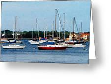 Boat - Group Of Sailboats Newport Ri Greeting Card
