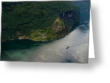 Boat In Geirangerfjord Greeting Card