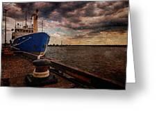 Boat In Marina Greeting Card