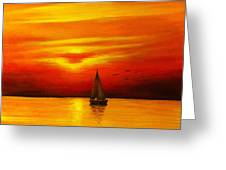 Boat In The Sunset Greeting Card