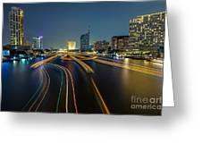 Boat Light Trails On Bangkok Chao Phraya River Greeting Card